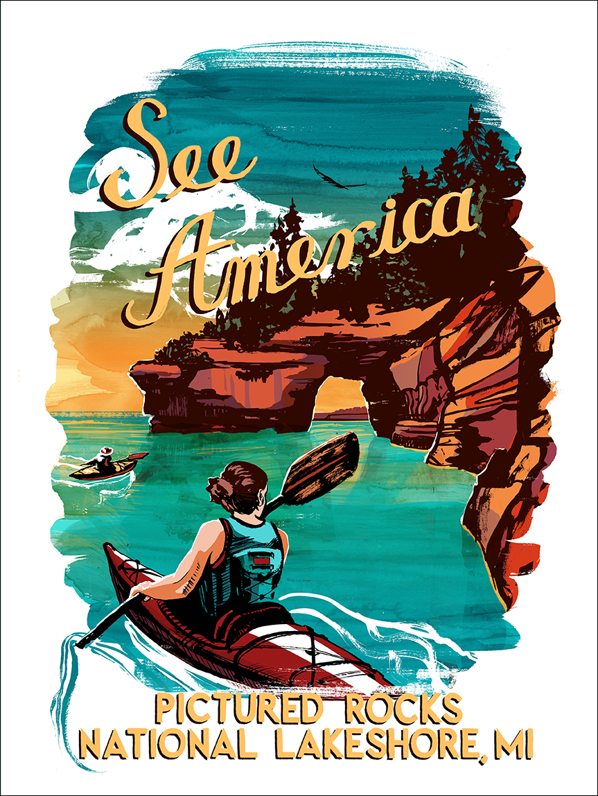 Travel Poster for Pictured Rocks National Lakeshore Copyright 2015