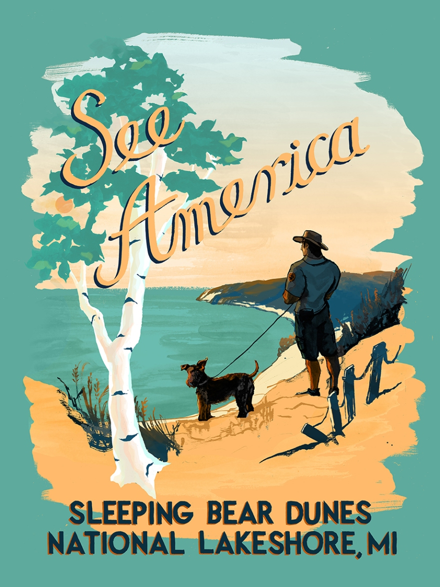 Travel Poster for Sleeping Bear Dunes National Lakeshore Copyright 2015