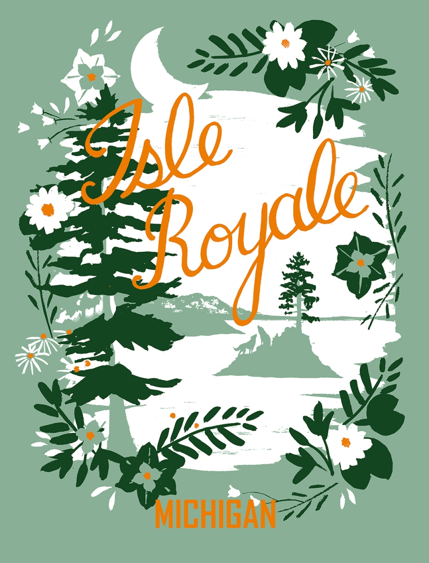 Travel Poster for Isle Royale, MI Limited edition screenprint Copyright 2014