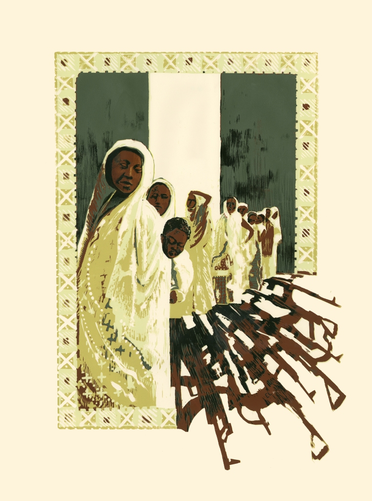Edition of 4 Serigraph prints. Editorial Illustration for news story about the Boko Haram in Nigeria.